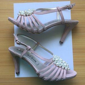 Anne Klein Blush Pink Heels with Pearls sz 8.5